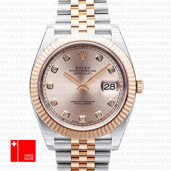 Rolex Datejust 41 Jubilee 2 Tone 18k Rose Gold Fluted Bezel Pink Sundust Dial Diamond Markers 126331 Swiss Replica