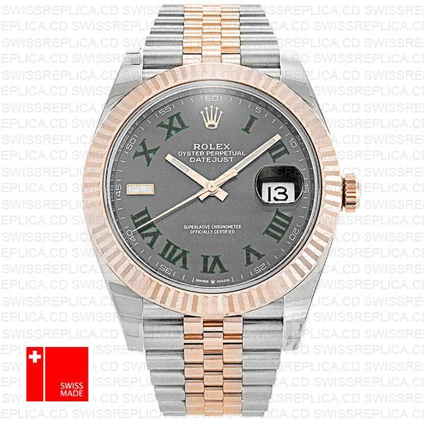 Rolex Datejust 41 Jubilee Slate Grey Roman Dial | 2-Tone Replica Watch