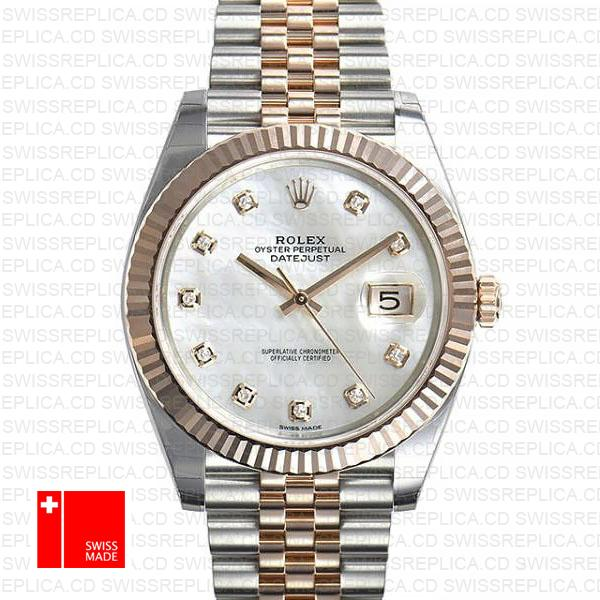 Rolex Datejust 41 Jubilee 2 Tone 18k Rose Gold Fluted Bezel White Mop Dial Diamond Markers 126331 Swiss Replica