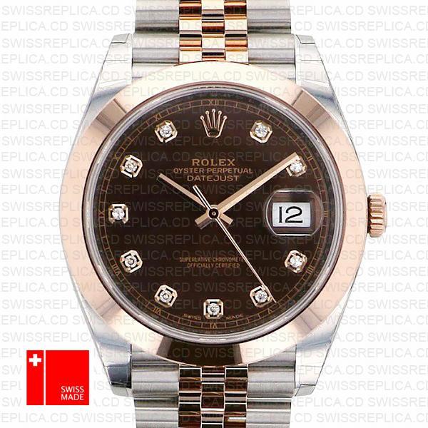 Rolex Chocolate Datejust 41 Diamond Dial | Jubilee Swiss Replica Watch