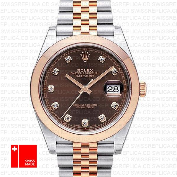Rolex Chocolate Datejust 41 Diamond Dial | Jubilee Swiss Replica Watch