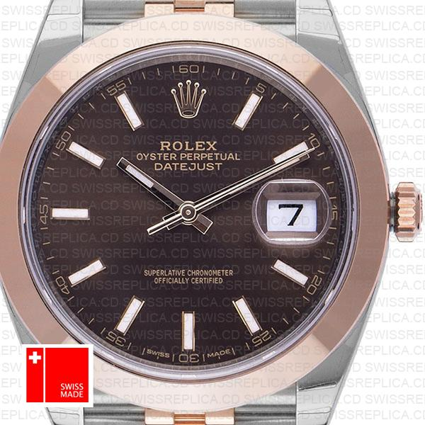 Rolex Datejust 41 Chocolate Jubilee Dial | Rose Gold Swiss Replica Watch