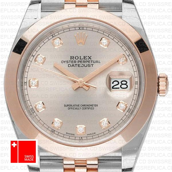 Rolex Datejust 41 Diamond Dial Jubilee | Rose Gold Swiss Replica Watch