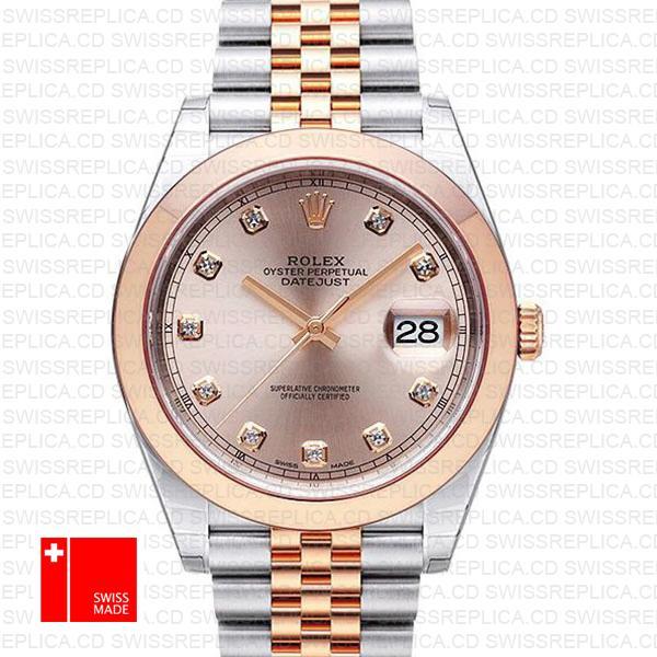 Rolex Datejust 41 Jubilee 2 Tone 18k Rose Gold Smooth Bezel Pink Dial Diamond Markers 126301 Swiss Replica