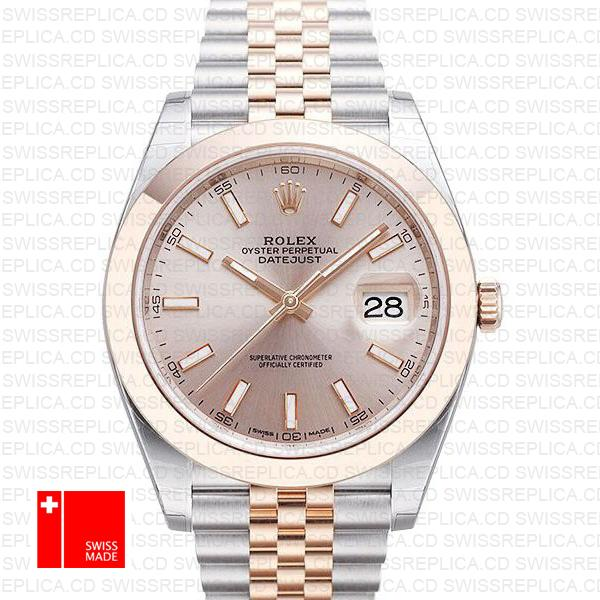 Rolex Datejust 41 Rose Gold Jubilee Two Tone | Pink Dial Replica Watch
