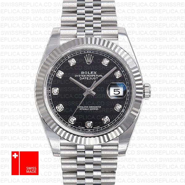 Rolex Datejust 41 Jubilee 2 Tone 18k White Gold Fluted Bezel Black Dial Diamond Markers 126334 Swiss Replica
