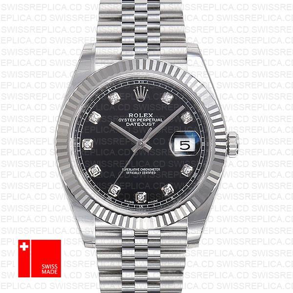 Rolex Datejust 41 Jubilee 2 Tone 18k White Gold Fluted Bezel Black Dial Diamond Markers 126334 Swiss Replica