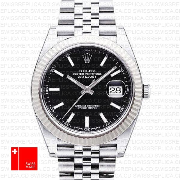 Rolex Datejust 41 Black Dial Jubilee Bracelet | White Gold Replica Watch