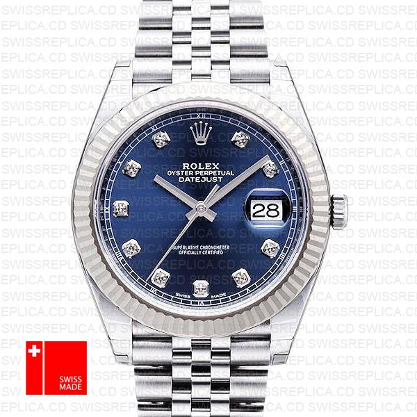 Rolex Datejust 41 Blue Diamond Dial Swiss Replica Watch | Jubilee Watch
