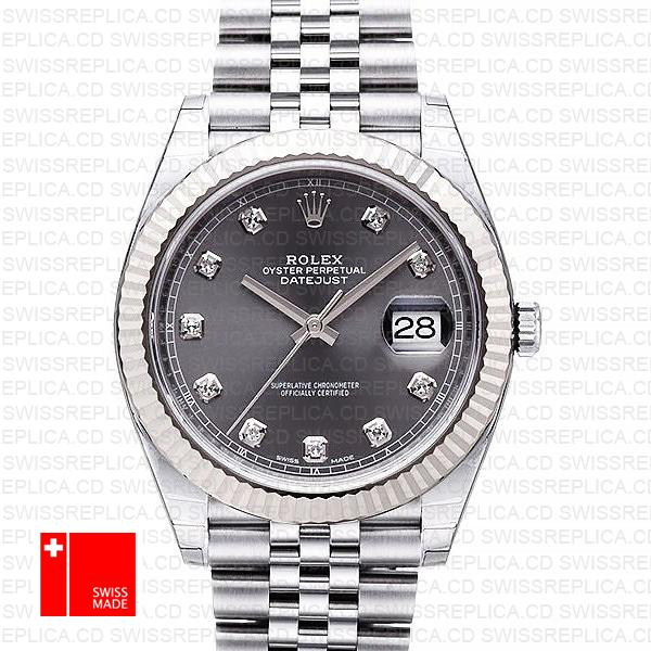 Rolex Datejust 41 Dark Rhodium & Grey Dial Diamond Replica Watch