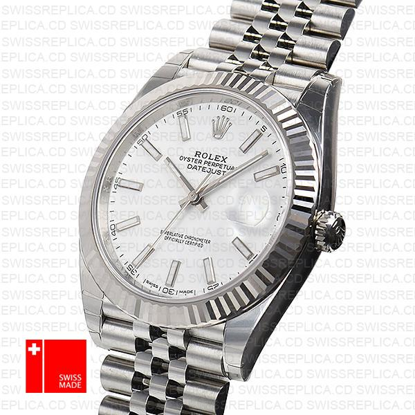Rolex Datejust 41 White Gold Jubilee Bracelet Fluted Bezel Replica Watch