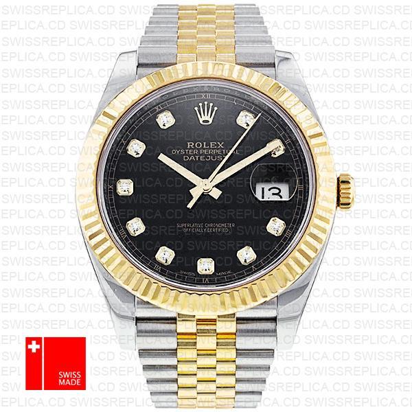 Rolex Datejust 41 Jubilee Black Dial with Diamond | 2-Tone Replica Watch