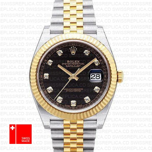 Rolex Datejust 41 Jubilee 2 Tone 18k Yellow Gold Flutted Bezel Black Dial Diamond Markers 126333 Swiss Replica