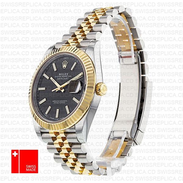Rolex Datejust 41 Black Dial Two Tone | Jubilee Bracelet Replica Watch