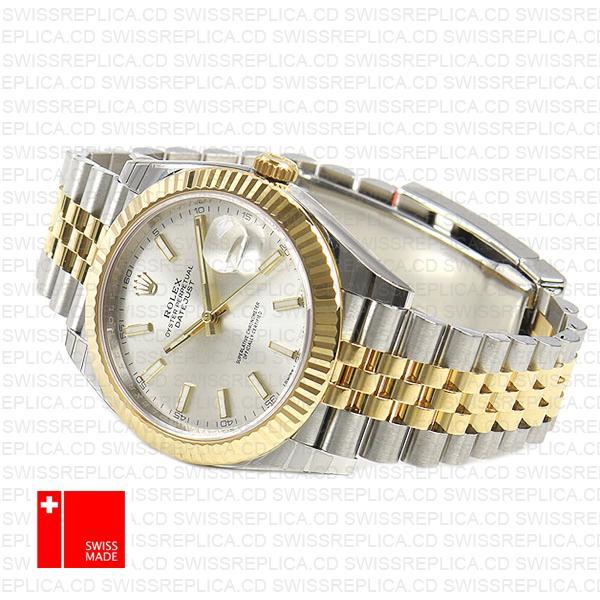 Rolex Datejust 41mm jubilee Fluted Bezel Silver Dial Luxury Replica Watch