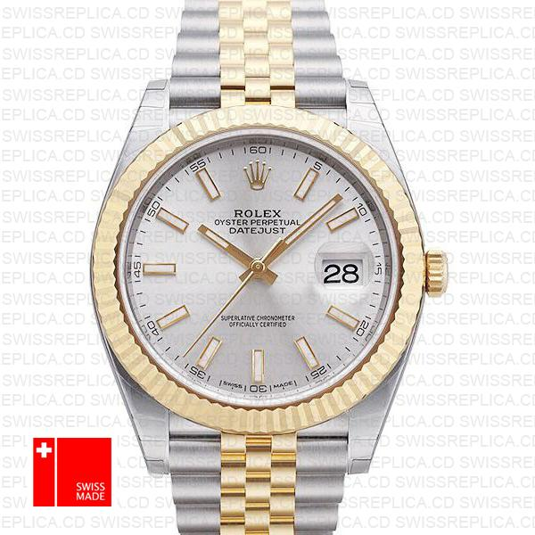 Rolex Datejust 41mm jubilee Fluted Bezel Silver Dial Luxury Replica Watch
