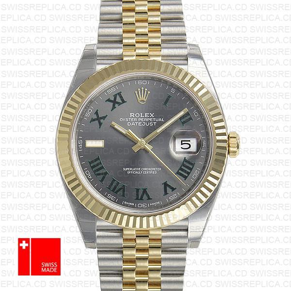 Rolex Datejust 41 Roman Numerals Two Tone | Grey Dial Replica Watch