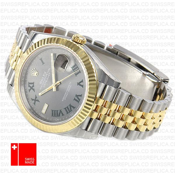 Rolex Datejust 41 Roman Numerals Two Tone | Grey Dial Replica Watch
