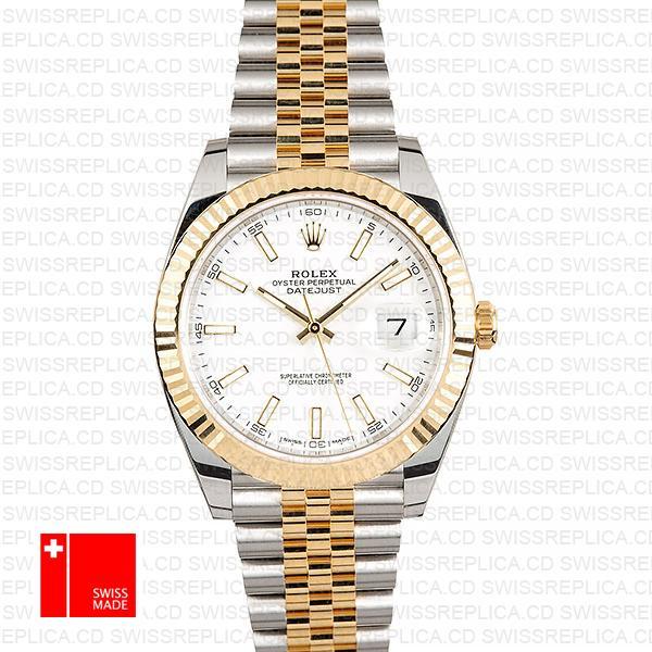 Rolex Datejust Jubilee White Dial Fluted Bezel | Two Tone Replica Watch