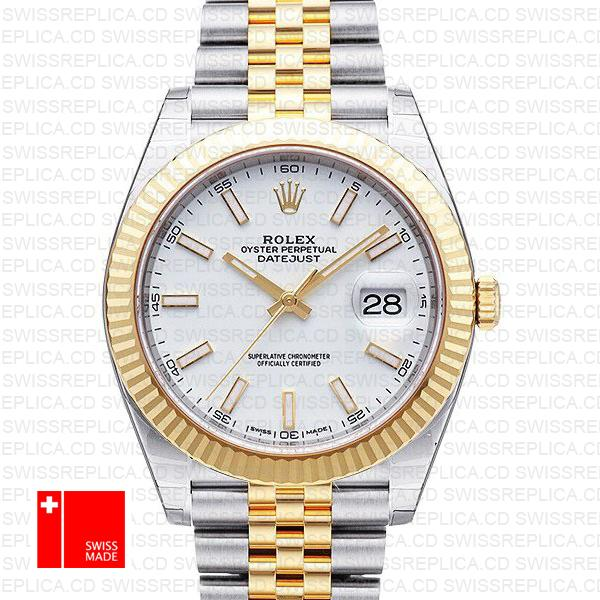 Rolex Datejust Jubilee White Dial Fluted Bezel | Two Tone Replica Watch