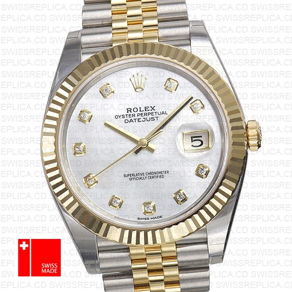 Rolex Datejust 41 jubilee Mop Dial Fluted Bezel   Diamond Replica Watch
