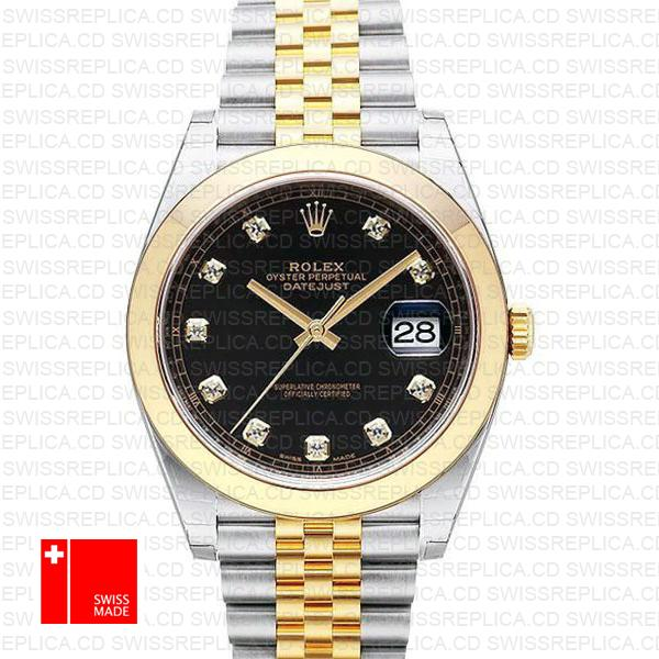 Rolex Datejust 41 Jubilee Replica Watch | Two Tone Black Dial & Diamond