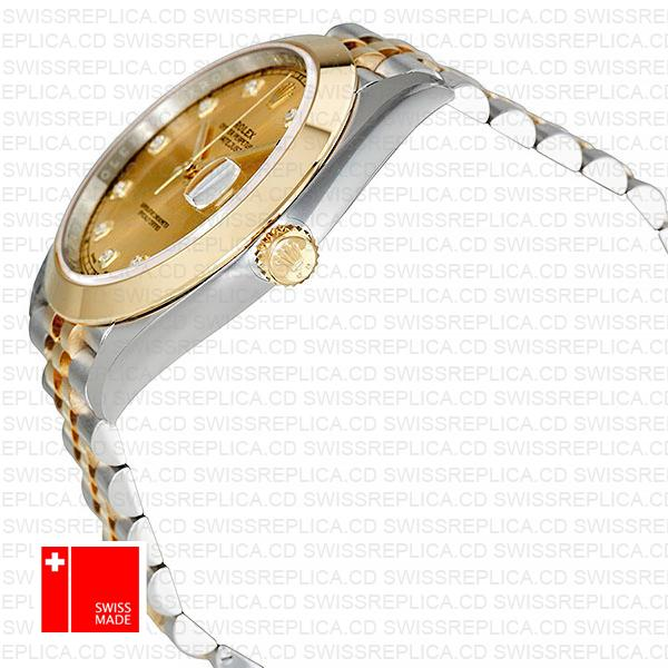 Rolex Datejust 41 Jubilee Two Tone | Moissanite Diamond Gold Dial Watch