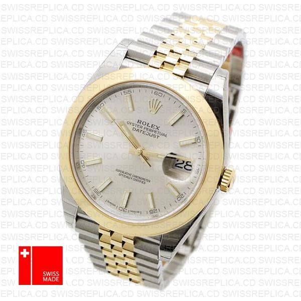 Rolex Datejust 41 Jubilee 2-Tone Silver Dial | Steel & Gold Replica Watch