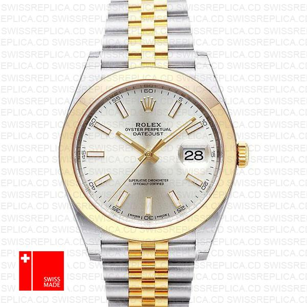 Rolex Datejust 41 Jubilee 2-Tone Silver Dial | Steel & Gold Replica Watch