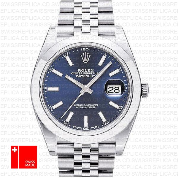 Rolex Datejust 41 Jubilee Steel Smooth Bezel Blue Dial Stick Markers 126300 Swiss Replica
