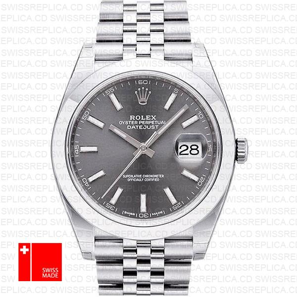 Rolex Datejust 41 Jubilee Steel Smooth Bezel Dark Rhodium Grey Dial Stick Markers 126300 Swiss Replica