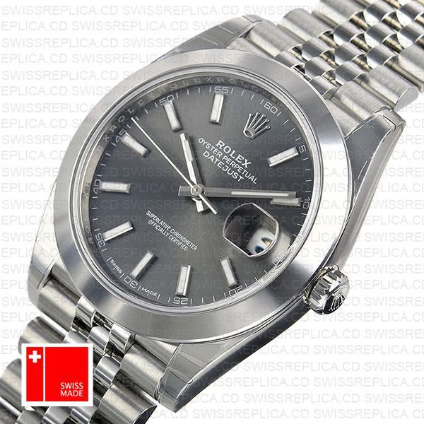Rolex Datejust 41 Dark Rhodium Jubilee Grey Dial   Swiss Replica Watch