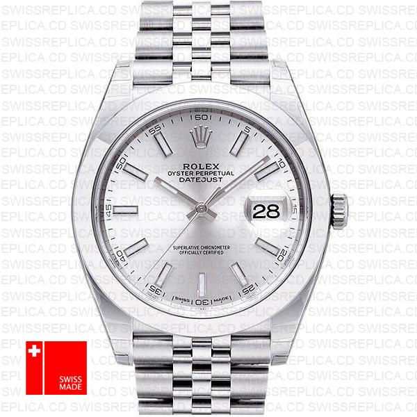 Rolex Datejust 41 Jubilee Steel Smooth Bezel Silver Dial Stick Markers 126300 Swiss Replica