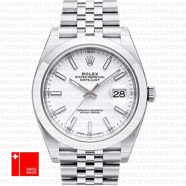 Rolex Stainless Steel Datejust 41 White Dial | Best Swiss Replica Watch