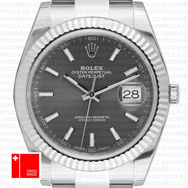 Rolex Datejust 41 Oyster 18k W Gold Fluted Bezel Rhodium Grey Dial Stick Markers 126334