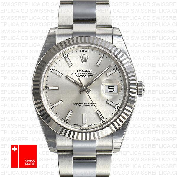 Rolex Datejust 41 Oyster 18k W Gold Fluted Bezel Silver Dial Stick Markers 126334
