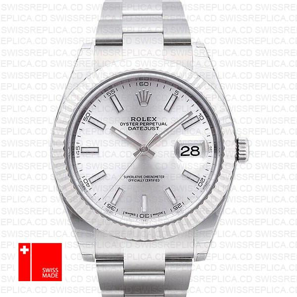 Rolex Datejust 41 Oyster Bracelet Silver Dial | White Gold Replica Watch