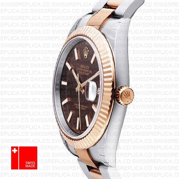 Rolex Datejust 41 Chocolate Dial | 2-Tone Rose Gold Swiss Replica Watch
