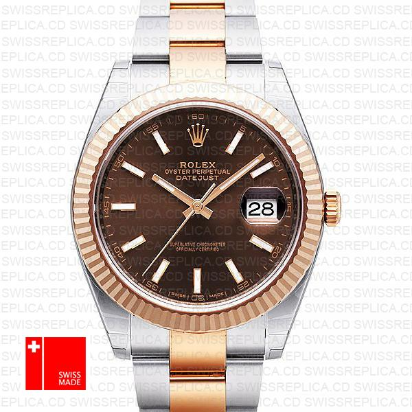 Rolex Datejust 41 Chocolate Dial | 2-Tone Rose Gold Swiss Replica Watch