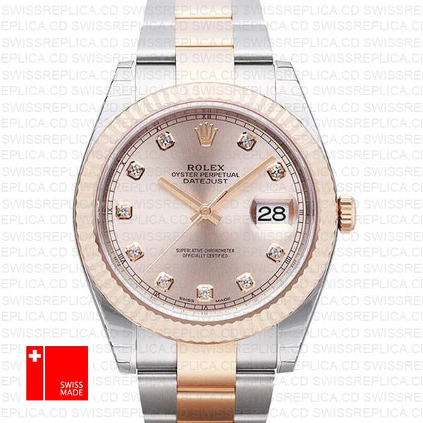Rolex Datejust 41 | 2-Tone Fluted Bezel Pink Dial Diamond Replica Watch