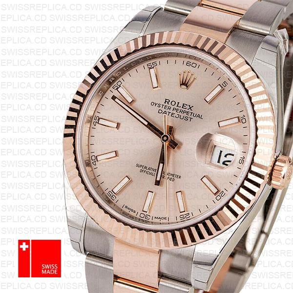 Rolex 126331 Datejust 41 | Two Tone Fluted Bezel Pink Dial Replica Watch