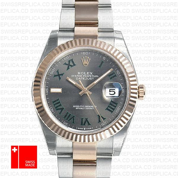 Rolex Datejust 41mm Slate Grey Dial with Roman Markers | Replica Watch
