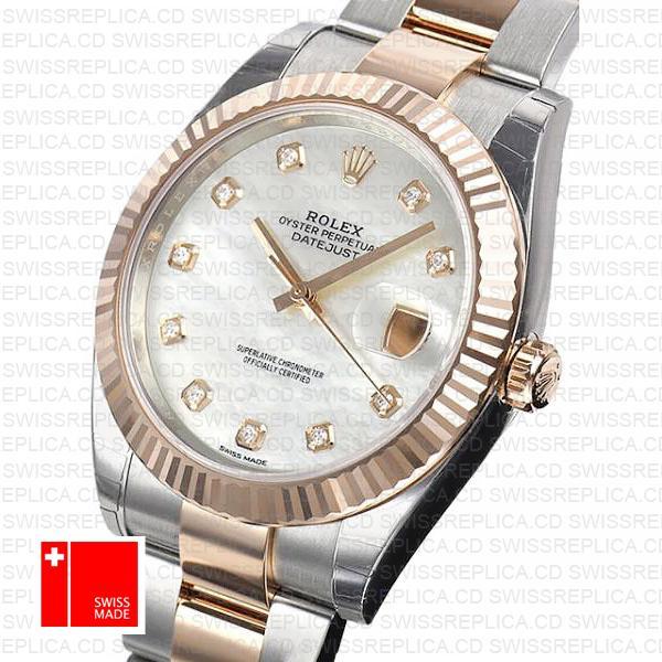 Rolex Datejust 41 Fluted Bezel & Diamond Dial | Rose Gold Replica Watch