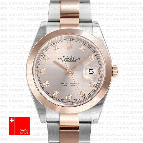 Rolex Datejust 41 Pink Dial Wit Diamond Markers | 18k Rose Gold Watch