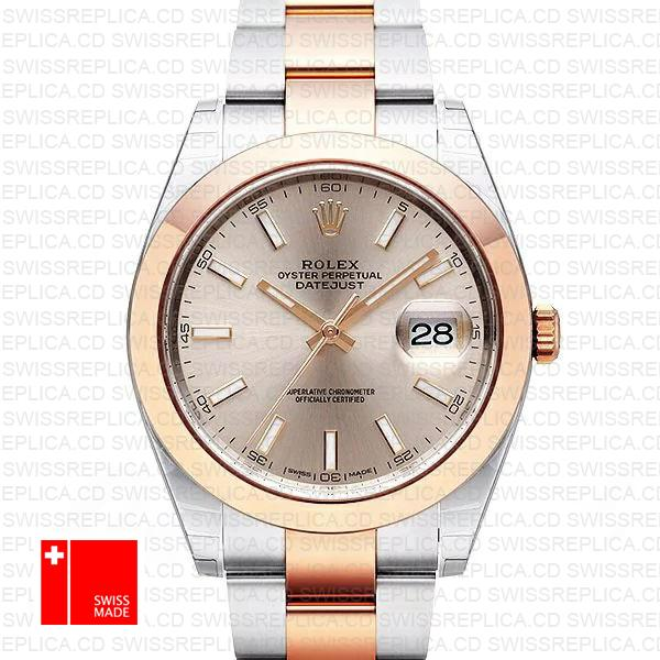 Rolex Pink Dial Rose Gold 2-tone | Datejust 41mm Swiss Replica Watch