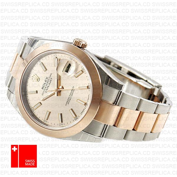 Rolex Datejust 41 Oyster 2 Tone 18k Rose Gold Smooth Bezel Pink Dial Stick Markers 126301 Swiss Replica
