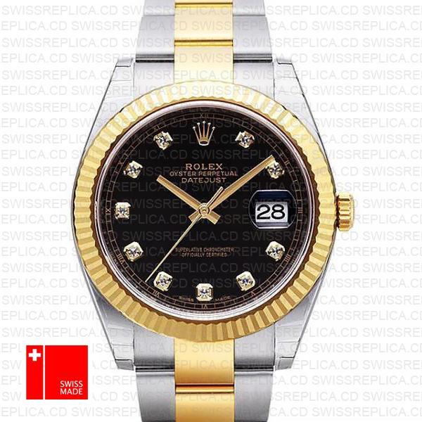 Rolex Black Dial Diamond Markers Datejust 41 Two tone Replica Watch