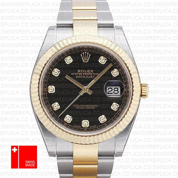 Rolex Datejust 41 Oyster 2 Tone 18k Yellow Gold Fluted Bezel Black Dial Diamond Markers 126333 Swiss Replica