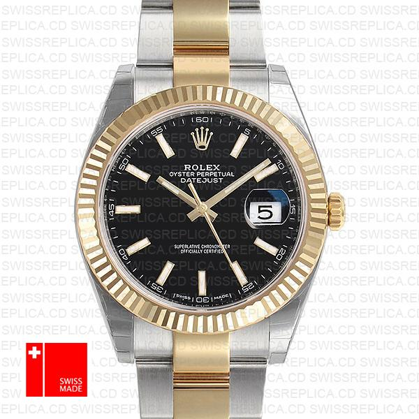 Rolex Black Dial Datejust 41 Oyster Two-tone Fluted Bezel Replica Watch