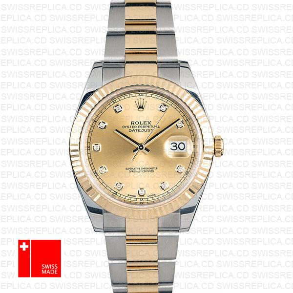 Rolex Datejust 41 Moissanite Diamond with Fluted Bezel, Gold Dial Watch